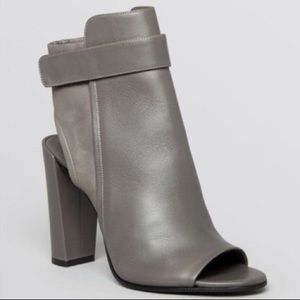Vince Grey Brigham Leather Open Toe Booties